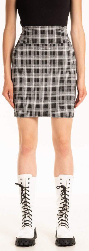 Krátká károvaná dámská sukně s vysokým pasem