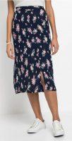 Květovaná midi sukně s potaženými knoflíky