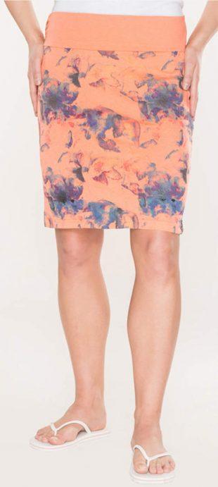 Levná oranžová letní sukně s květinovým motivem