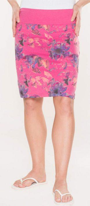 Levná růžová letní sukně s květinovým potiskem