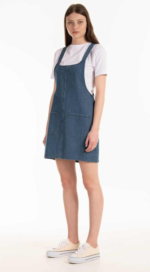 modrá riflová laclová sukně