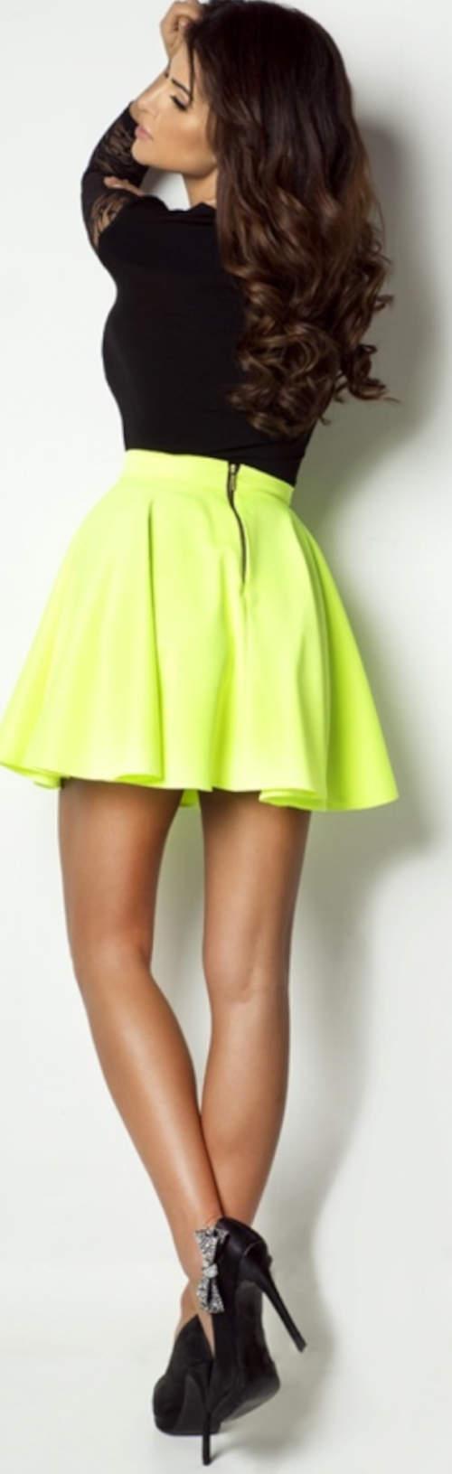 Neonová krátké letní sukně