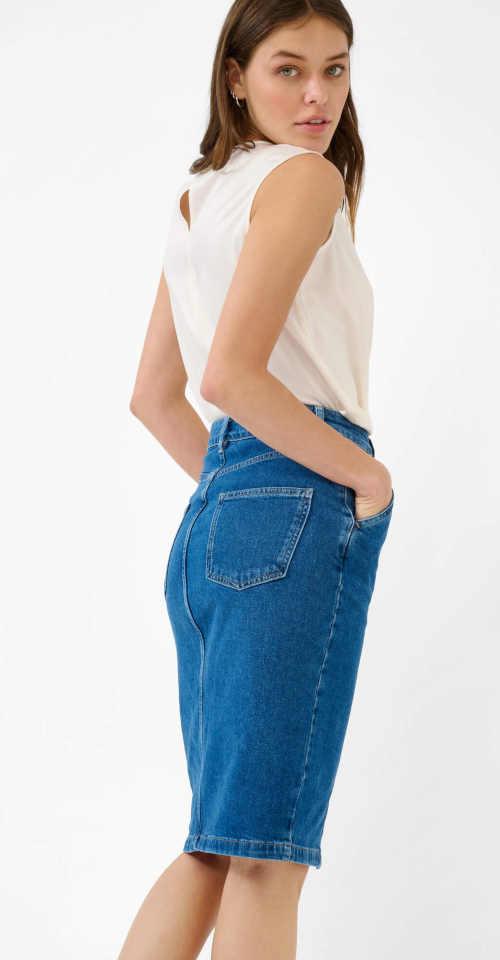 riflová sukně v přiléhavém střihu