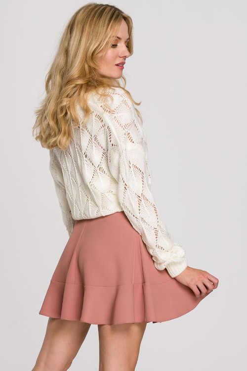 růžová krátká sukně s volánem