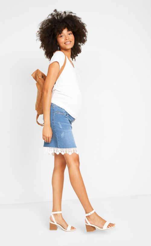 sukně pro těhotné s pružným pasem