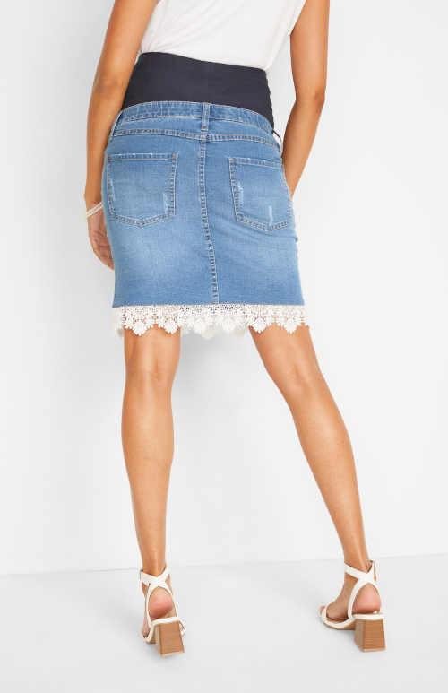 těhotenská džínová sukně s krajkou