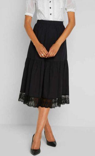 Bavlněná dámská černá sukně s krajkovým lemem