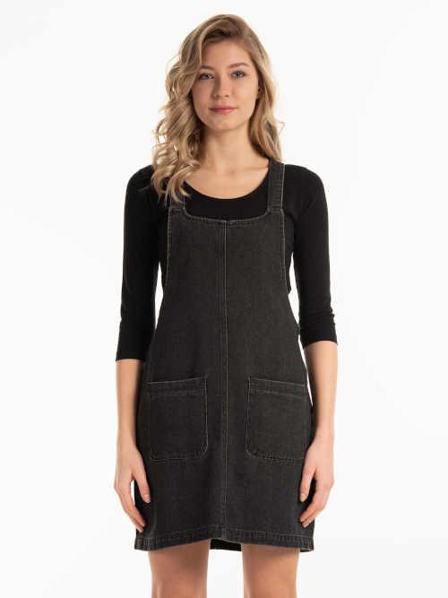 Denimová moderní krátká sukně na šle s kapsami vpředu