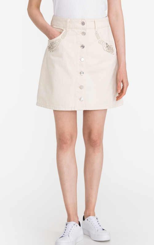 Krémová dámská krátká sukně Liu Jo se zdobnými korálky