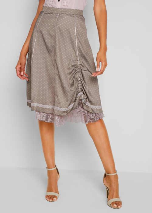 Módní dámská sukně s potiskem a krajkovým lemem