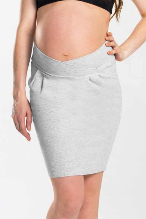 Těhotenská bavlněná sukně s pružným pasem vpředu překříženým