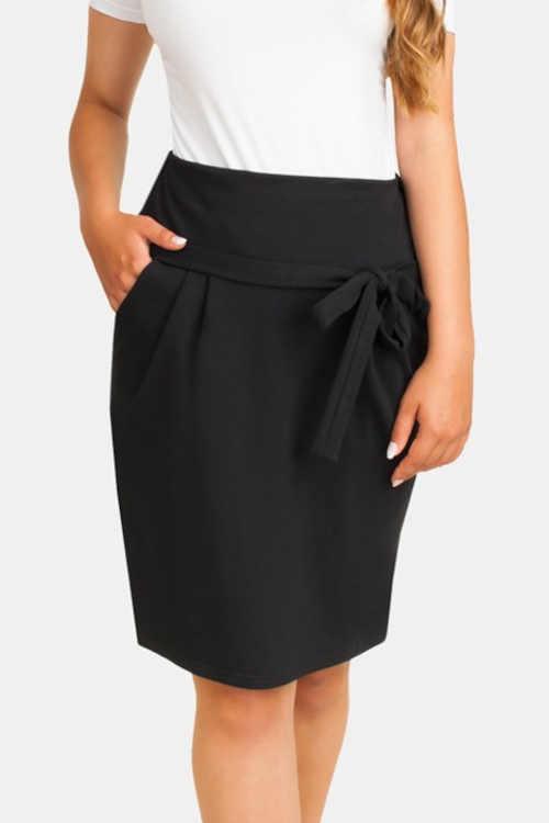Těhotenská sukně v krátké délce s ozdobným vázáním vpředu