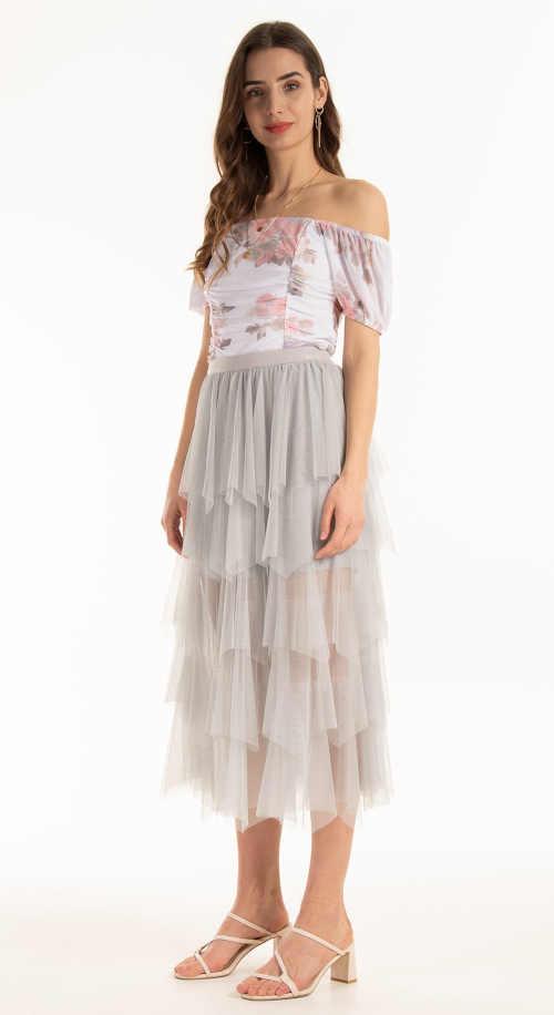 moderní tylová šedá sukně