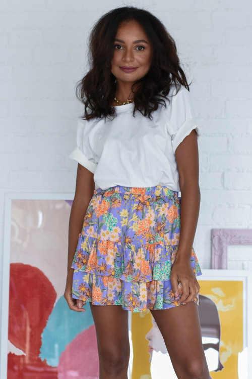 stylová sukně s květinovým potiskem