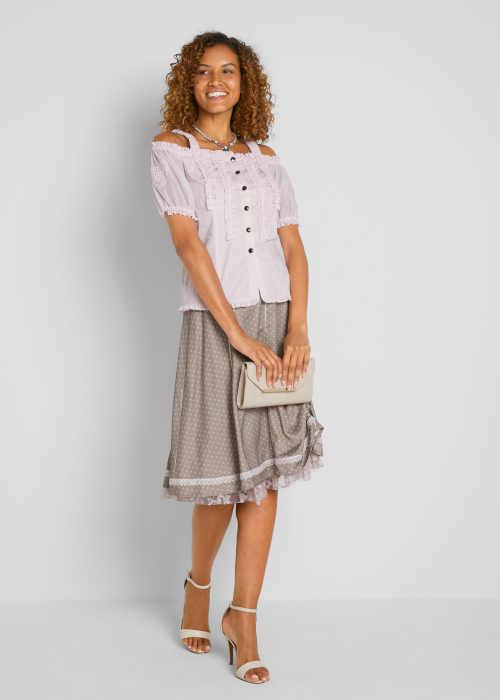 sukně s potiskem a krajkou